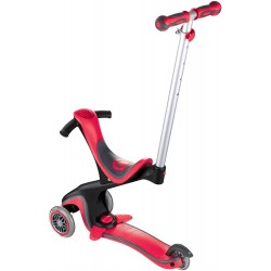 Globber Unisex Youth Evo Comfort Scooter Ride On, New Red, 15 Months+