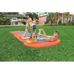 Bestway H20GO! Double Lane Water Slide, 5.5 m Inflatable Slip and Slide with Built-In Sprinklers