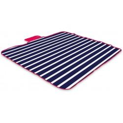 Yello Fleece Folding Outdoor Picnic Rug Waterproof Backing - Blue Stripe