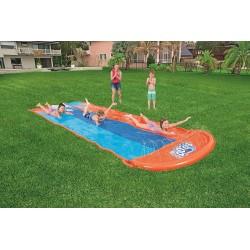 Bestway H20GO! Triple Lane Water Slide, 5.5 m Inflatable Slip and Slide with Built-In Sprinklers